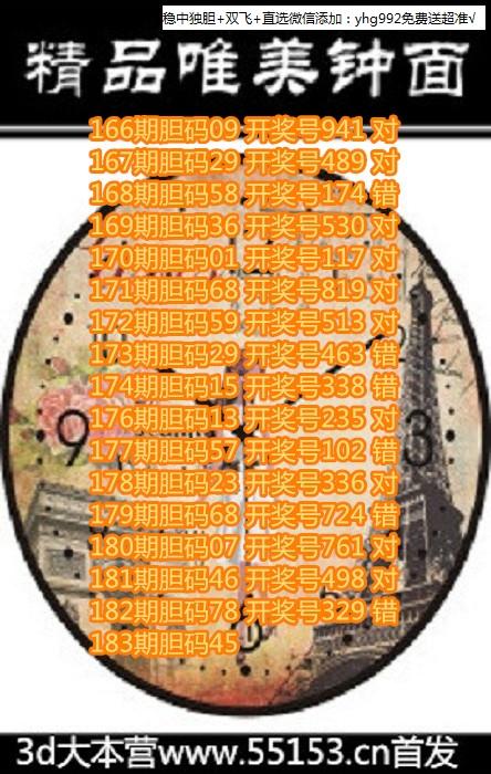 3D喜来登图谜2018183期钟表胆码图画