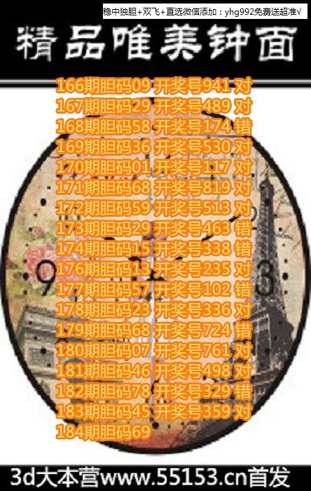 3D喜来登图谜2018184期钟表胆码图画